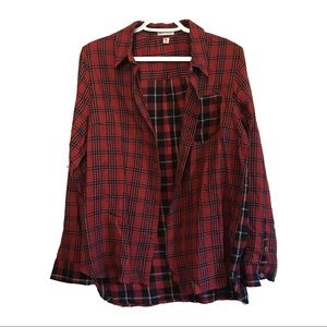 NWT - Women's Flannel-Designed Button-Up Shirt